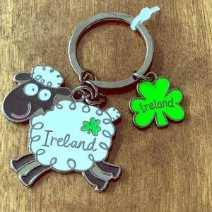 Irish sheep keychain with 3 leaf clover charm